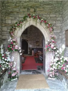 Church with wedding flowers image
