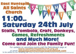East Huntspill Summer Fair. 11am Saturday 24th July. Stalls, Games, Refreshments and much more. Come and join the family fun!
